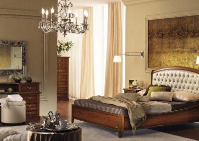 Nostalgia  tűzött bőrbetétes ágy dió színben