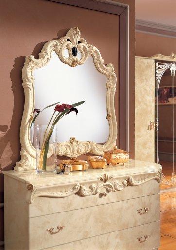 Barocco elefántcsontszínű komód tükörrel