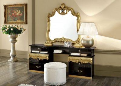 Barocco fekete-arany fésülködő asztal