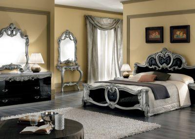 Baroccofekete-ezüst hálószoba