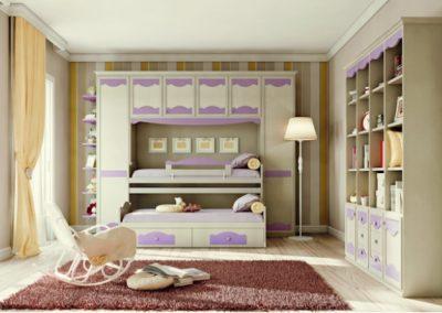 Beverly (fehér-lila) áthidalószekrényes hálószoba