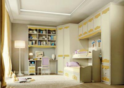 Beverly (fehér-sárga) áthidaló szekrényes hálószoba