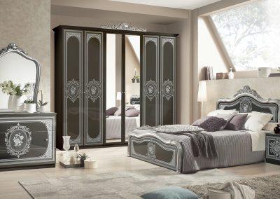 Alice hálószoba fekete-ezüst 6 ajtós szekrénnyel